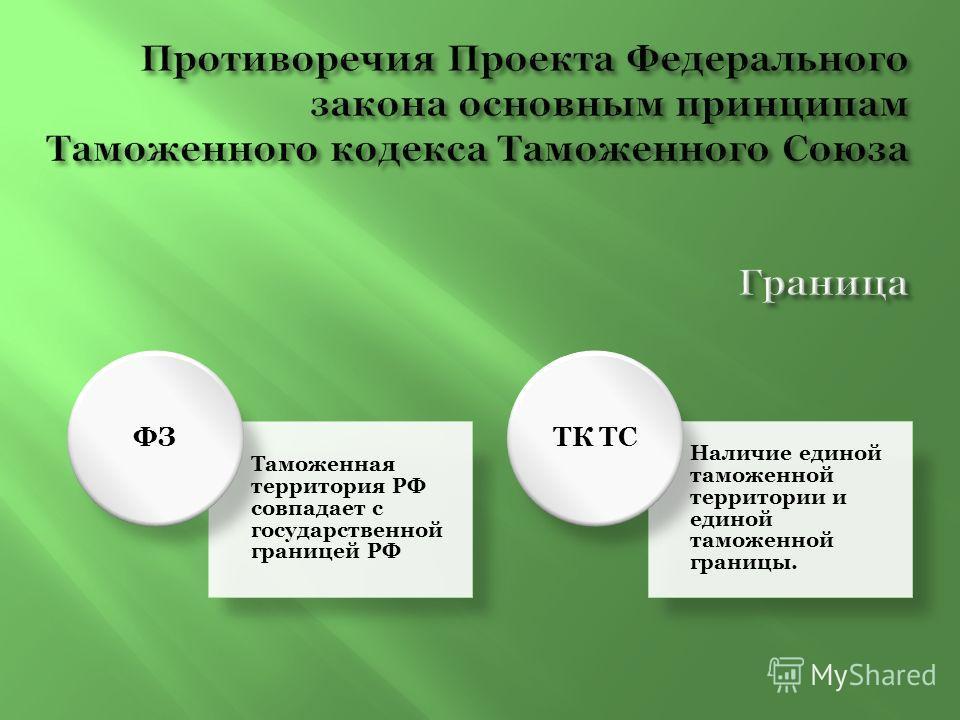 Таможенная территория РФ совпадает с государственной границей РФ ФЗ Наличие единой таможенной территории и единой таможенной границы. ТК ТС