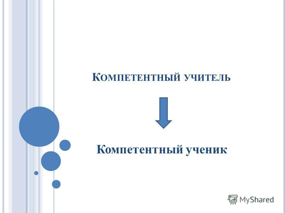 К ОМПЕТЕНТНЫЙ УЧИТЕЛЬ Компетентный ученик