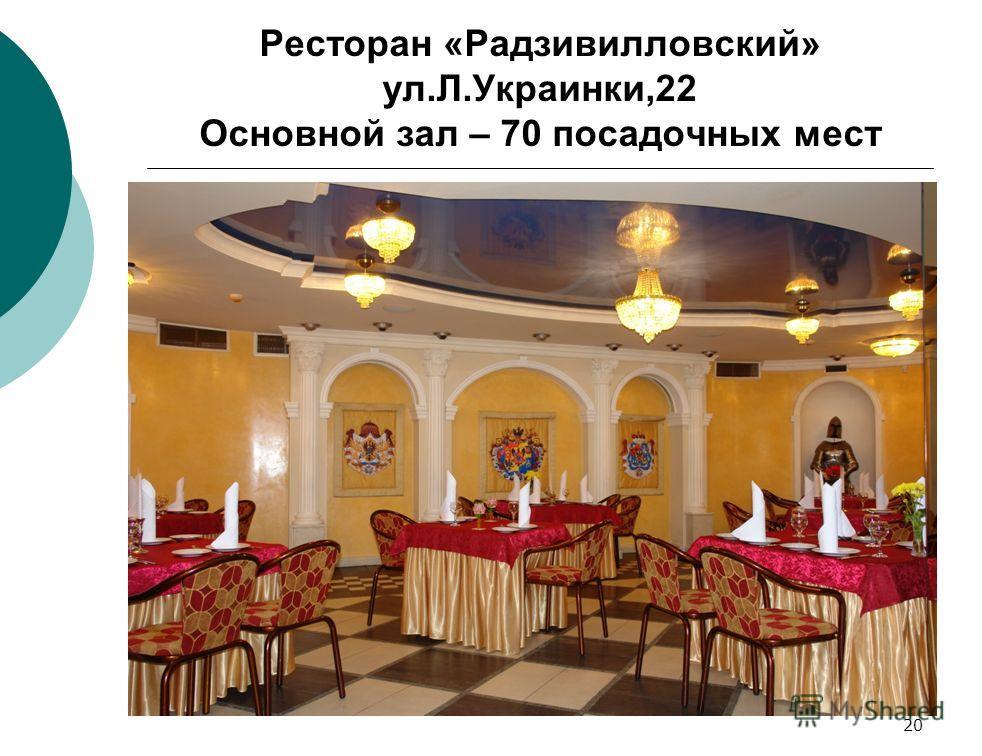 20 Ресторан «Радзивилловский» ул.Л.Украинки,22 Основной зал – 70 посадочных мест