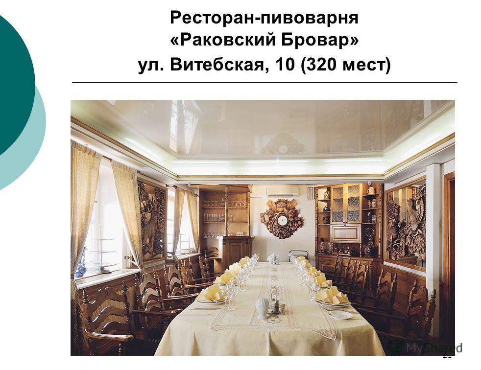 21 Ресторан-пивоварня «Раковский Бровар» ул. Витебская, 10 (320 мест)