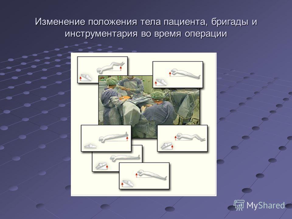 Изменение положения тела пациента, бригады и инструментария во время операции