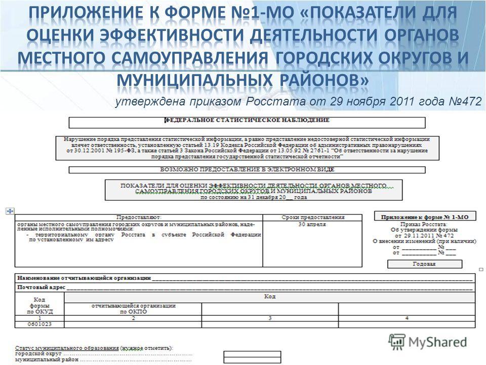 утверждена приказом Росстата от 29 ноября 2011 года 472
