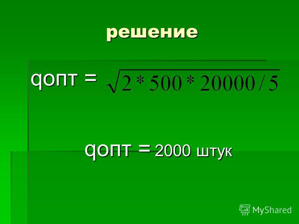 решение qопт = qопт = 2000 штук