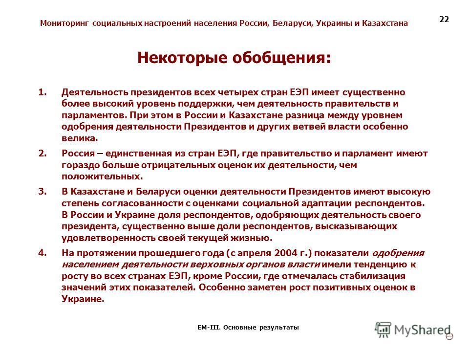Мониторинг социальных настроений населения России, Беларуси, Украины и Казахстана ЕМ-III. Основные результаты 22 1.Деятельность президентов всех четырех стран ЕЭП имеет существенно более высокий уровень поддержки, чем деятельность правительств и парл