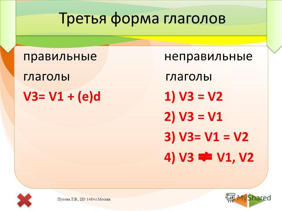 правильные неправильные глаголы V3= V1 + (e)d1) V3 = V2 2) V3 = V1 3) V3= V1 = V2 4) V3 V1, V2 правильные неправильные глаголы V3= V1 + (e)d1) V3 = V2 2) V3 = V1 3) V3= V1 = V2 4) V3 V1, V2 Третья форма глаголов Пухова Л.В., ЦО 1484 г.Москва