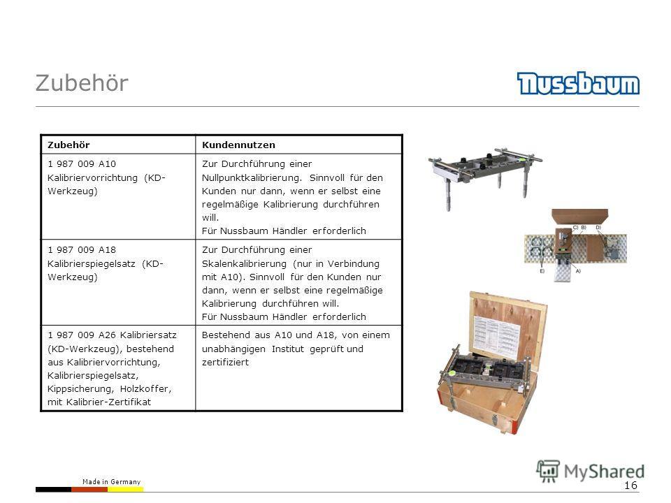 Made in Germany 16 Zubehör Kundennutzen 1 987 009 A10 Kalibriervorrichtung (KD- Werkzeug) Zur Durchführung einer Nullpunktkalibrierung. Sinnvoll für den Kunden nur dann, wenn er selbst eine regelmäßige Kalibrierung durchführen will. Für Nussbaum Händ
