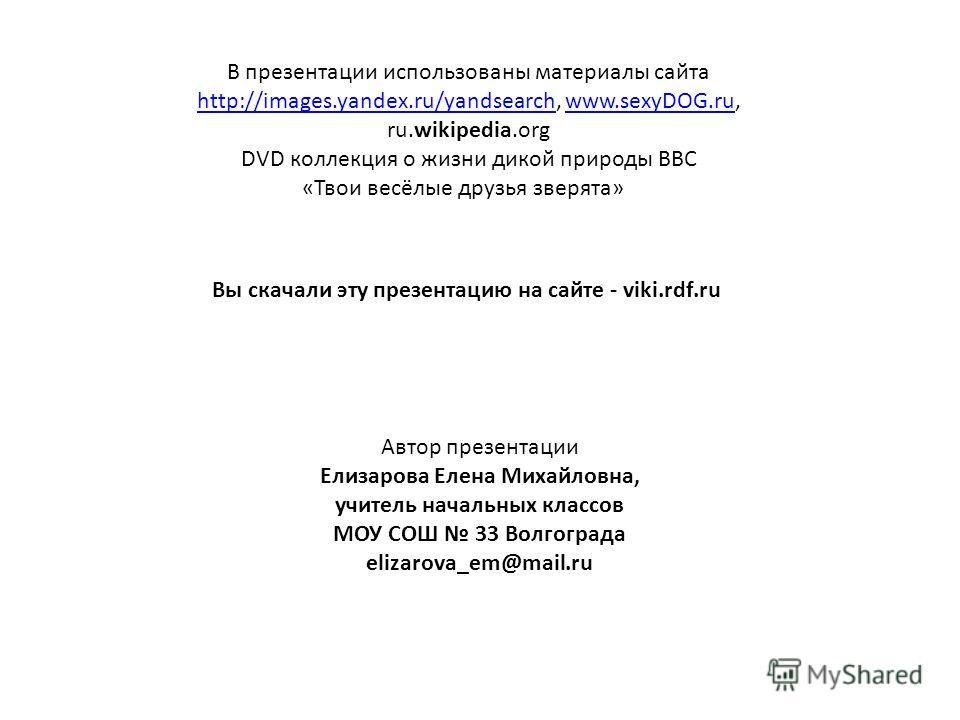 В презентации использованы материалы сайта http://images.yandex.ru/yandsearch, www.sexyDOG.ru, ru.wikipedia.org http://images.yandex.ru/yandsearchwww.sexyDOG.ru DVD коллекция о жизни дикой природы BBC «Твои весёлые друзья зверята» Вы скачали эту през