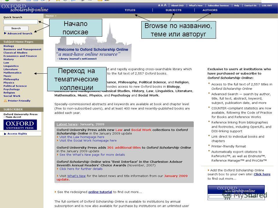 Начало поискаe Browse по названию, теме или авторуr Переход на тематические коллекции