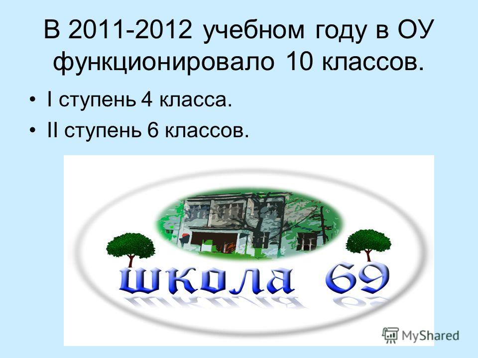 В 2011-2012 учебном году в ОУ функционировало 10 классов. I ступень 4 класса. II ступень 6 классов.