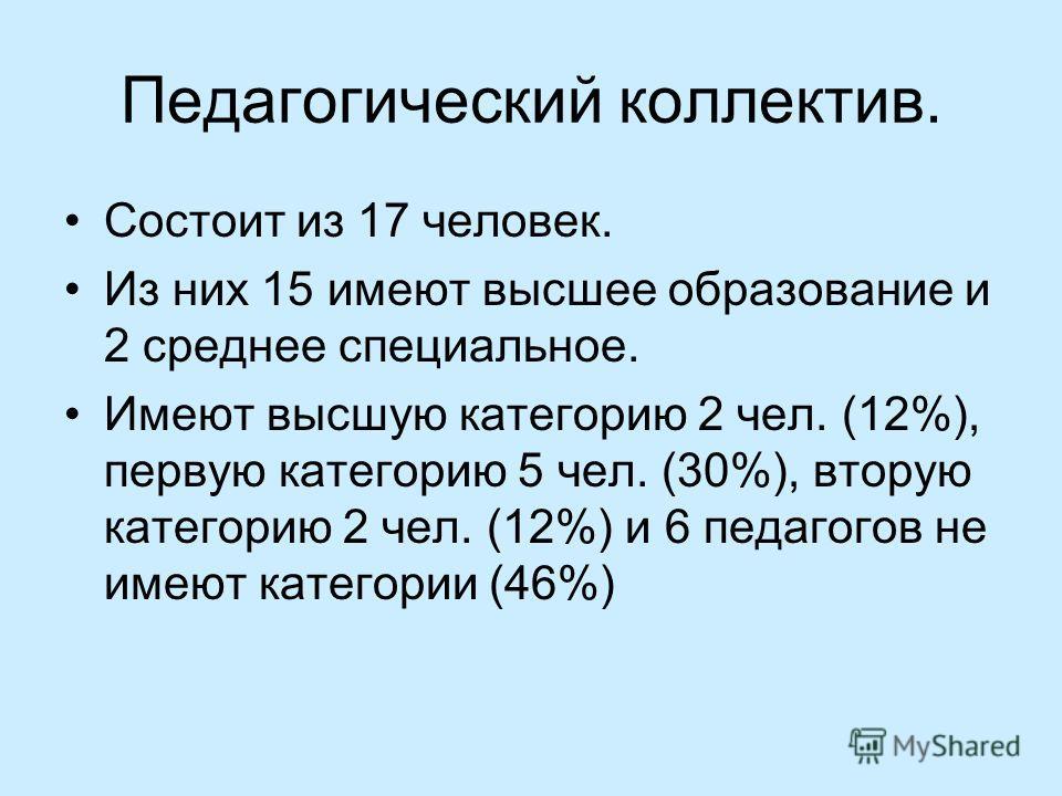 Педагогический коллектив. Состоит из 17 человек. Из них 15 имеют высшее образование и 2 среднее специальное. Имеют высшую категорию 2 чел. (12%), первую категорию 5 чел. (30%), вторую категорию 2 чел. (12%) и 6 педагогов не имеют категории (46%)
