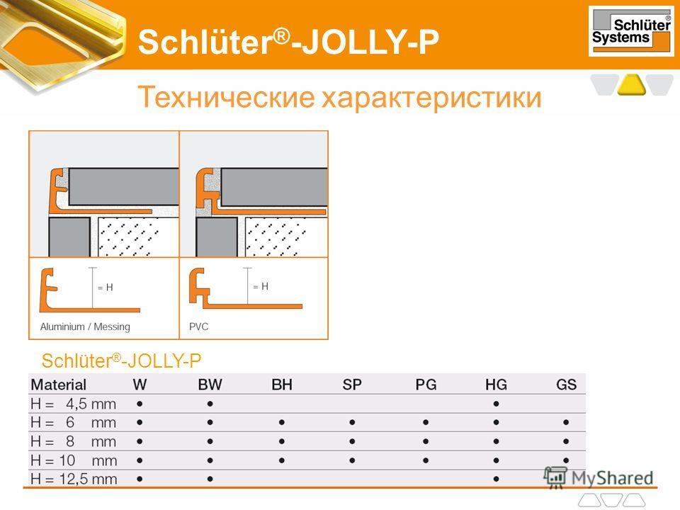 Schlüter ® -JOLLY-P Технические характеристики Schlüter ® -JOLLY-P