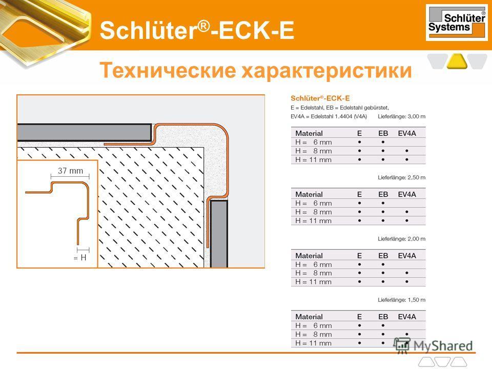 Schlüter ® -ECK-E Технические характеристики