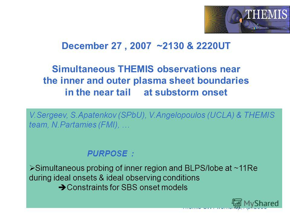 Themis-SWT workshop, Apr.2008 December 27, 2007 ~2130 & 2220UT Simultaneous THEMIS observations near the inner and outer plasma sheet boundaries in the near tail at substorm onset V.Sergeev, S.Apatenkov (SPbU), V.Angelopoulos (UCLA) & THEMIS team, N.