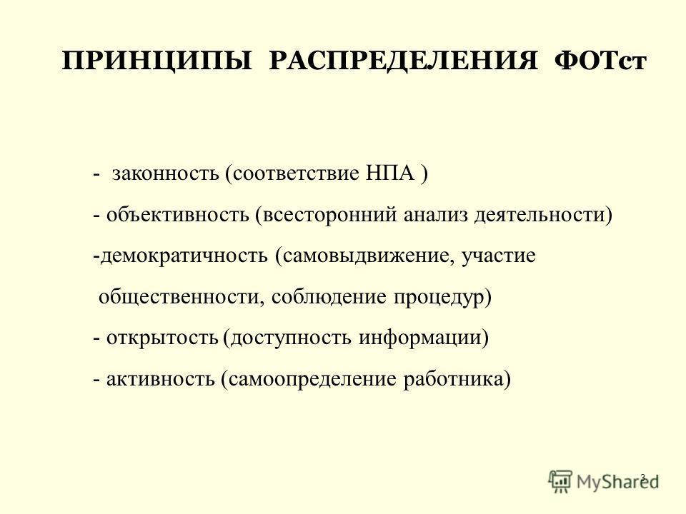 3 ПРИНЦИПЫ РАСПРЕДЕЛЕНИЯ ФОТст - законность (соответствие НПА ) - объективность (всесторонний анализ деятельности) -демократичность (самовыдвижение, участие общественности, соблюдение процедур) - открытость (доступность информации) - активность (само