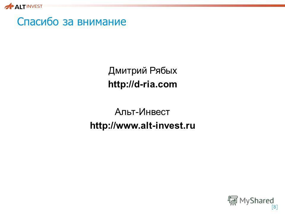 [8][8] Спасибо за внимание Дмитрий Рябых http://d-ria.com Альт-Инвест http://www.alt-invest.ru