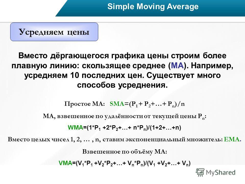 Simple Moving Average Усредняем цены Вместо дёргающегося графика цены строим более плавную линию: скользящее среднее (МА). Например, усредняем 10 последних цен. Существует много способов усреднения. Простое МА: SMA=(P 1 + P 2 +…+ P n )/n МА, взвешенн