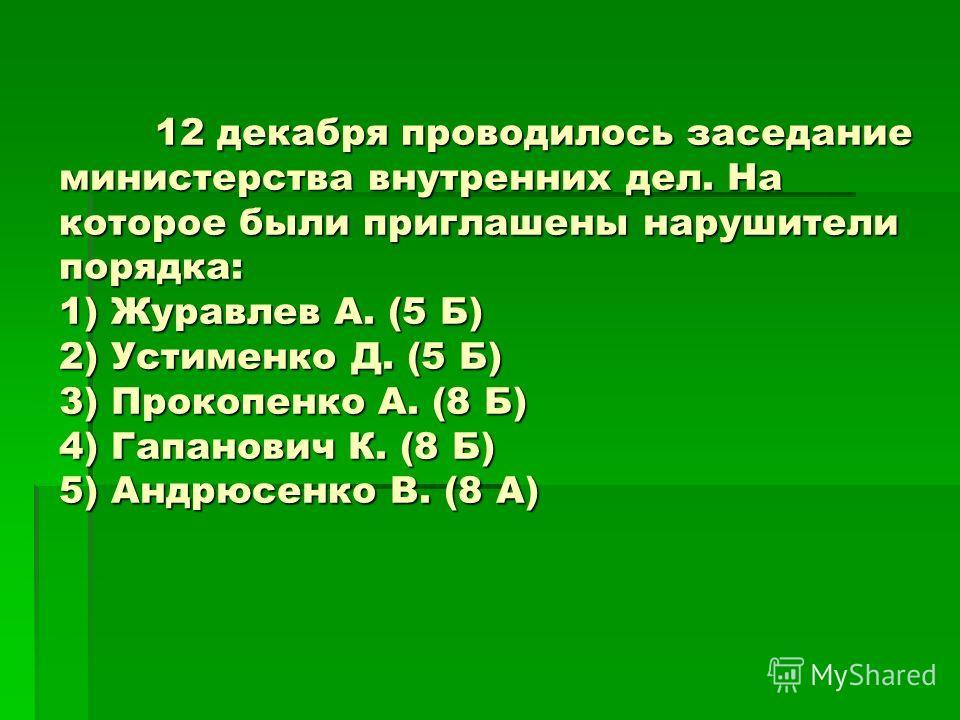 12 декабря проводилось заседание министерства внутренних дел. На которое были приглашены нарушители порядка: 1) Журавлев А. (5 Б) 2) Устименко Д. (5 Б) 3) Прокопенко А. (8 Б) 4) Гапанович К. (8 Б) 5) Андрюсенко В. (8 А)