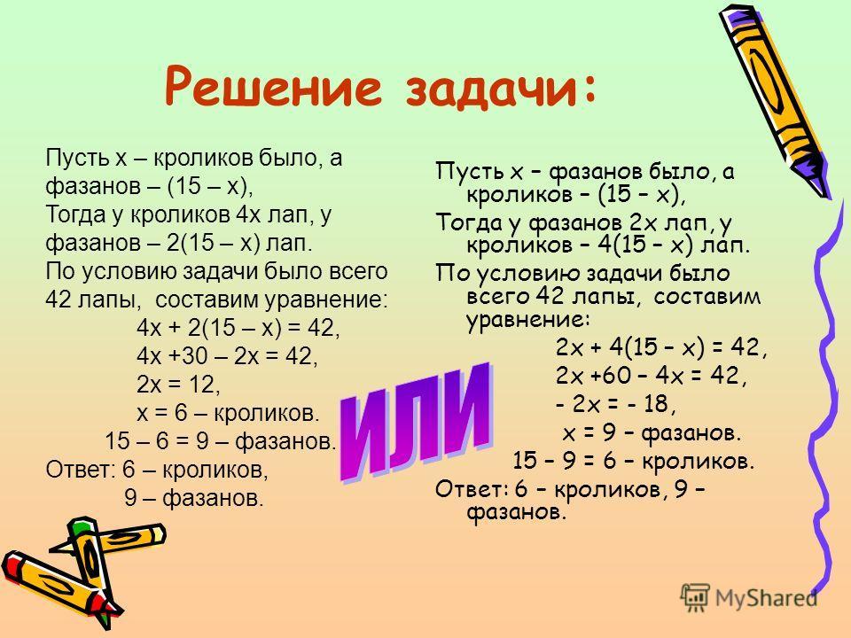 Решение задачи: Пусть х – фазанов было, а кроликов – (15 – х), Тогда у фазанов 2х лап, у кроликов – 4(15 – х) лап. По условию задачи было всего 42 лапы, составим уравнение: 2х + 4(15 – х) = 42, 2х +60 – 4х = 42, - 2х = - 18, х = 9 – фазанов. 15 – 9 =
