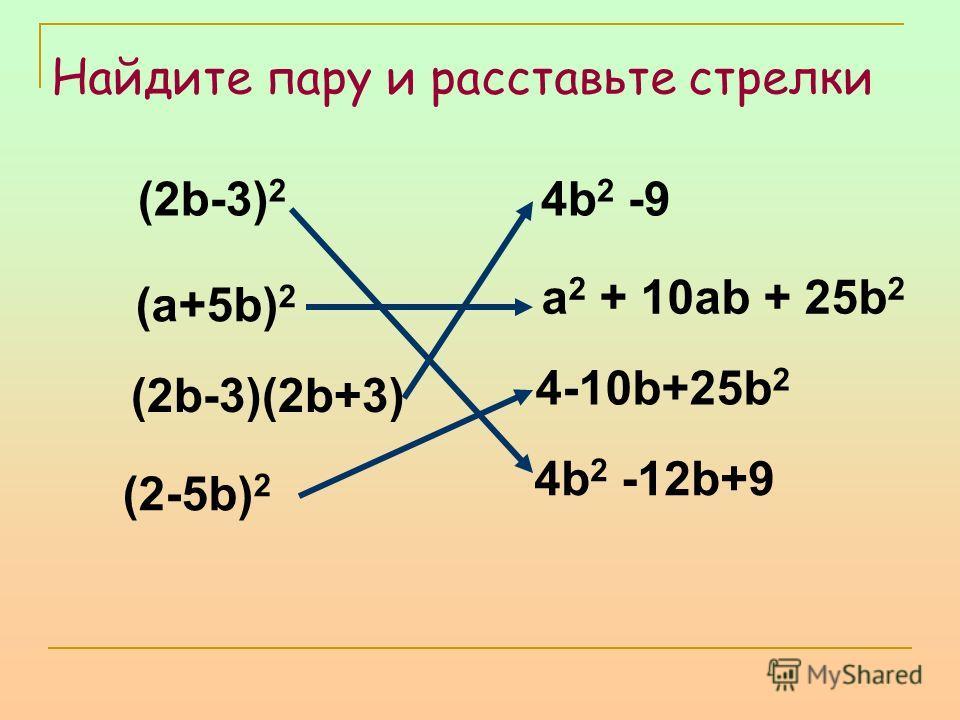 (2b-3) 2 4b 2 -9 (a+5b) 2 a 2 + 10ab + 25b 2 (2b-3)(2b+3) 4-10b+25b 2 4b 2 -12b+9 (2-5b) 2 Найдите пару и расставьте стрелки