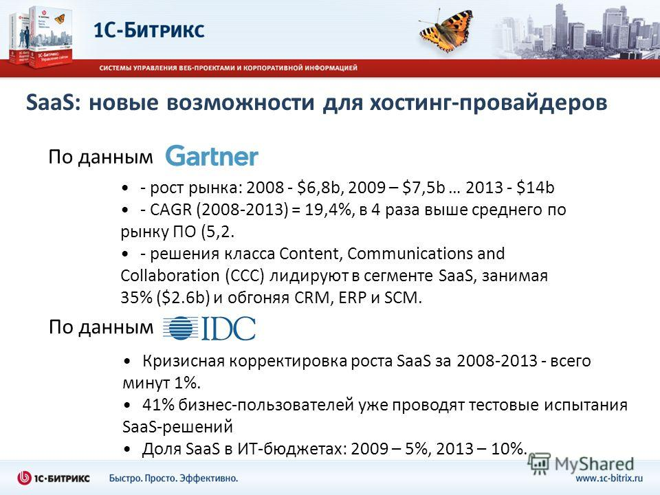 SaaS: новые возможности для хостинг-провайдеров - рост рынка: 2008 - $6,8b, 2009 – $7,5b … 2013 - $14b - CAGR (2008-2013) = 19,4%, в 4 раза выше среднего по рынку ПО (5,2. - решения класса Content, Communications and Collaboration (CCC) лидируют в се