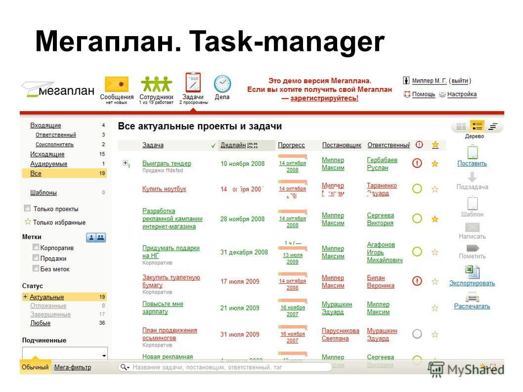 Collaboration Мегаплан. Task-manager