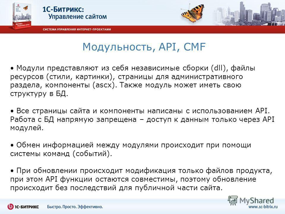 Модульность, API, CMF Модули представляют из себя независимые сборки (dll), файлы ресурсов (стили, картинки), страницы для административного раздела, компоненты (ascx). Также модуль может иметь свою структуру в БД. Все страницы сайта и компоненты нап