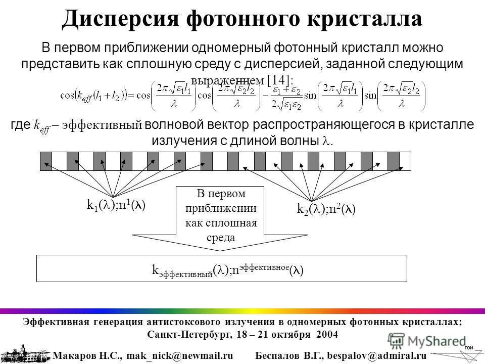 Дисперсия фотонного кристалла В первом приближении одномерный фотонный кристалл можно представить как сплошную среду с дисперсией, заданной следующим выражением [14]: где k eff – эффективный волновой вектор распространяющегося в кристалле излучения с