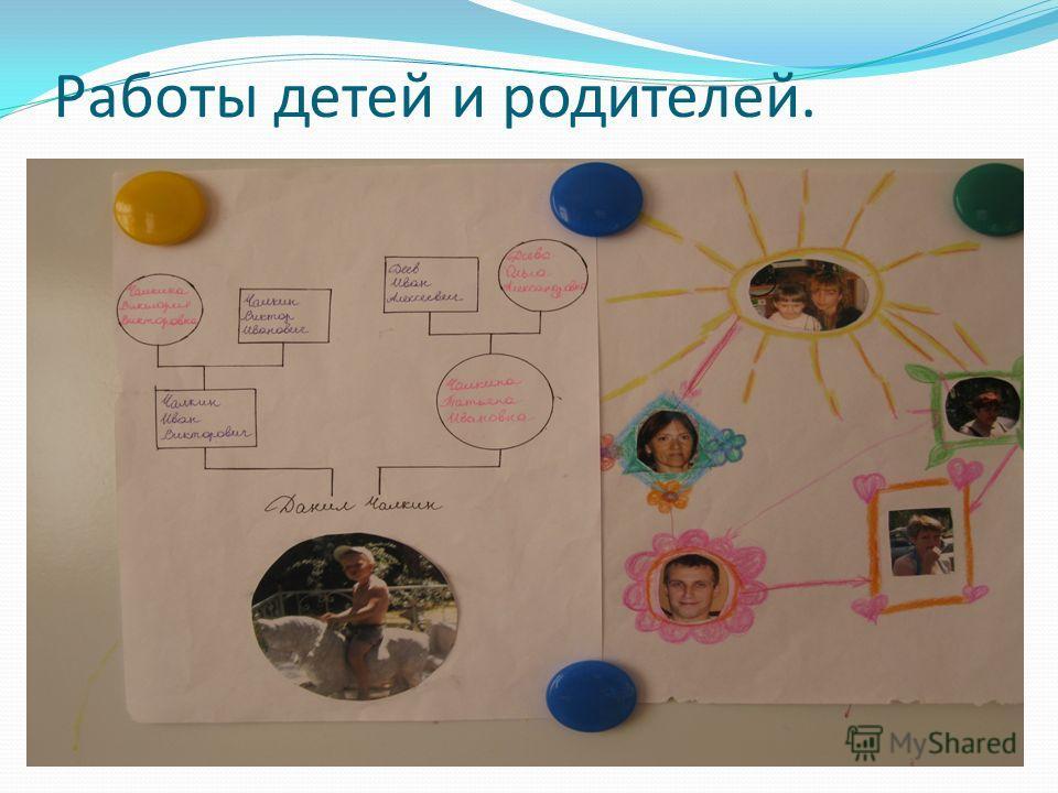 Работы детей и родителей.