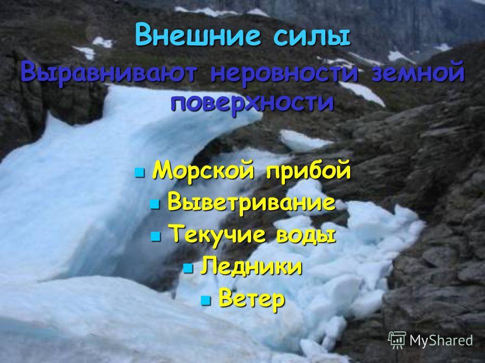 Внешние силы Выравнивают неровности земной поверхности Морской прибой Морской прибой Выветривание Выветривание Текучие воды Текучие воды Ледники Ледники Ветер Ветер