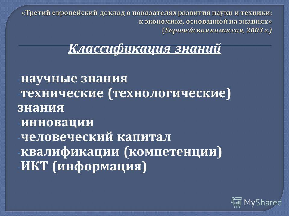 Классификация знаний - научные знания - технические ( технологические ) знания - инновации - человеческий капитал - квалификации ( компетенции ) - ИКТ ( информация )
