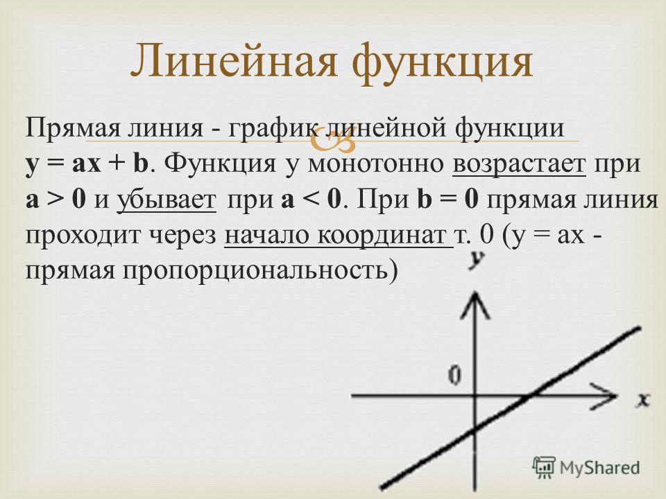 Прямая линия - график линейной функции y = ax + b. Функция y монотонно возрастает при a > 0 и убывает при a < 0. При b = 0 прямая линия проходит через начало координат т. 0 (y = ax - прямая пропорциональность ) Линейная функция