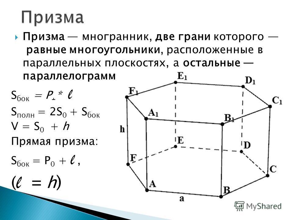 Призма многранник, две грани которого равные многоугольники, расположенные в параллельных плоскостях, а остальные параллелограммы. S бок = P ˔ * l S полн = 2S 0 + S бок V = S 0 + h Прямая призма: S бок = P 0 + l, ( l = h )