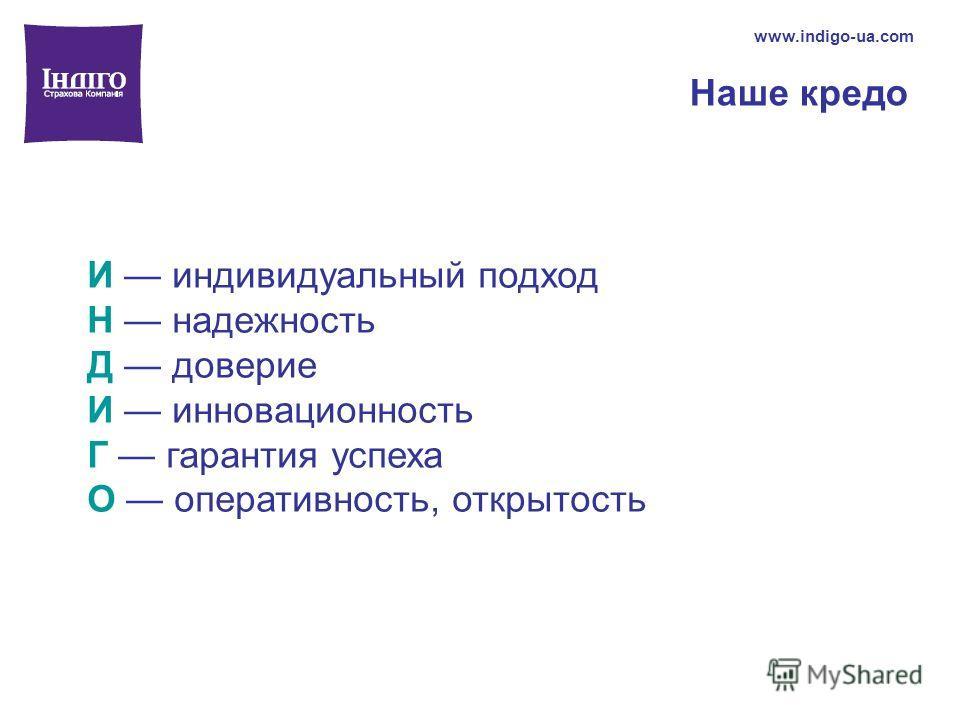 Наше кредо www.indigo-ua.com И индивидуальный подход Н надежность Д доверие И инновационность Г гарантия успеха О оперативность, открытость