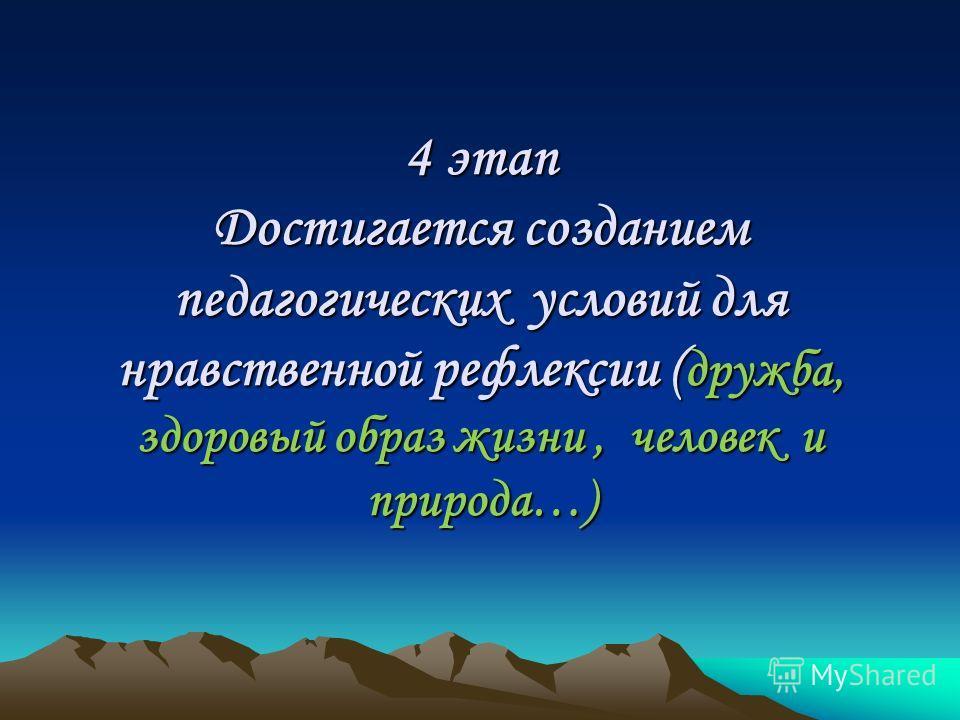 4 этап Достигается созданием педагогических условий для нравственной рефлексии ( дружба, здоровый образ жизни, человек и природа…)