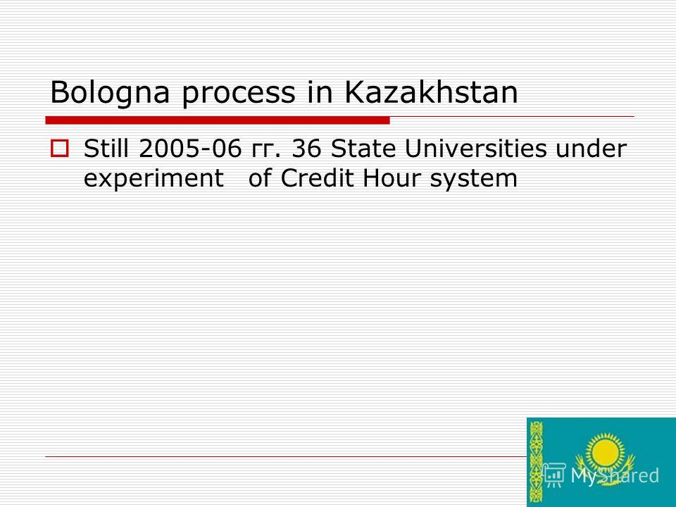 15 Bologna process in Kazakhstan Still 2005-06 гг. 36 State Universities under experiment of Credit Hour system