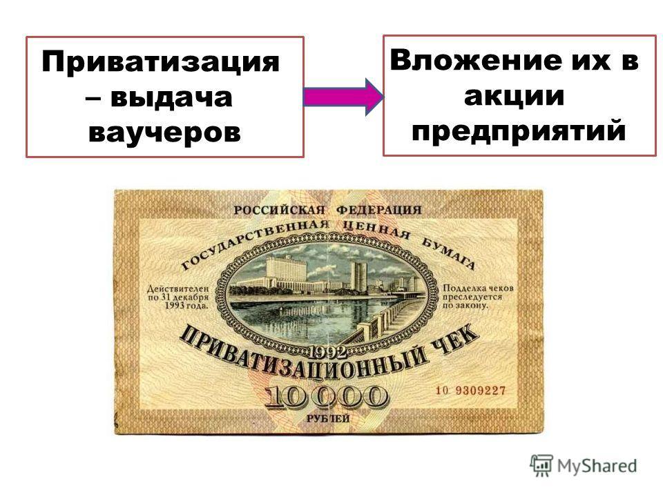 Приватизация – выдача ваучеров Вложение их в акции предприятий