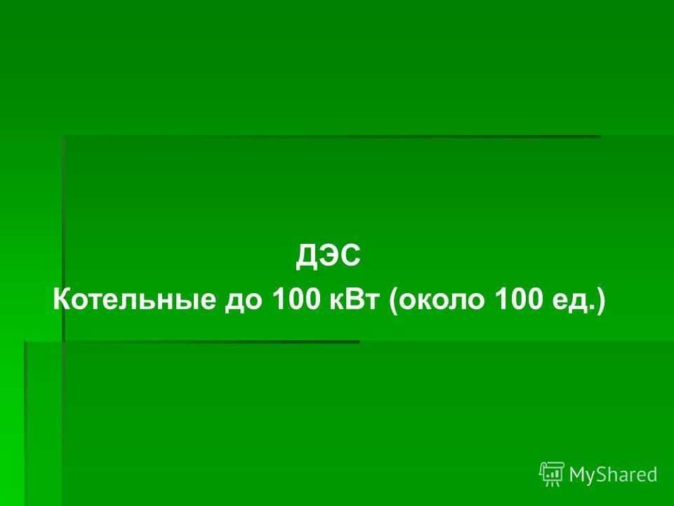 ДЭС Котельные до 100 кВт (около 100 ед.)