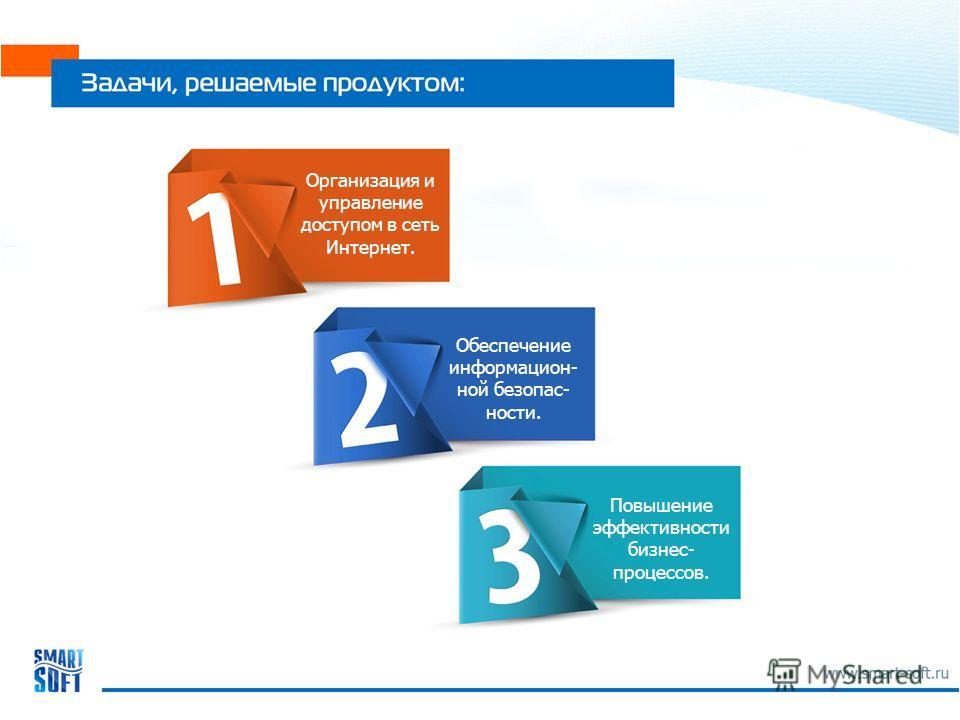 Повышение эффективности бизнес- процессов. Организация и управление доступом в сеть Интернет. Обеспечение информацион- ной безопас- ности.