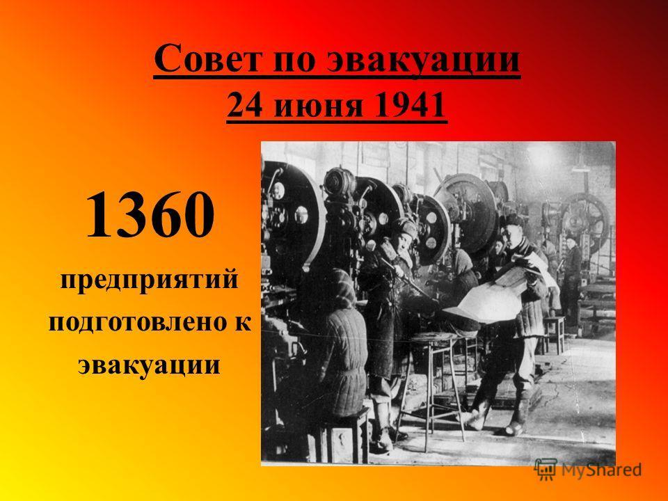 Совет по эвакуации 24 июня 1941 1360 предприятий подготовлено к эвакуации