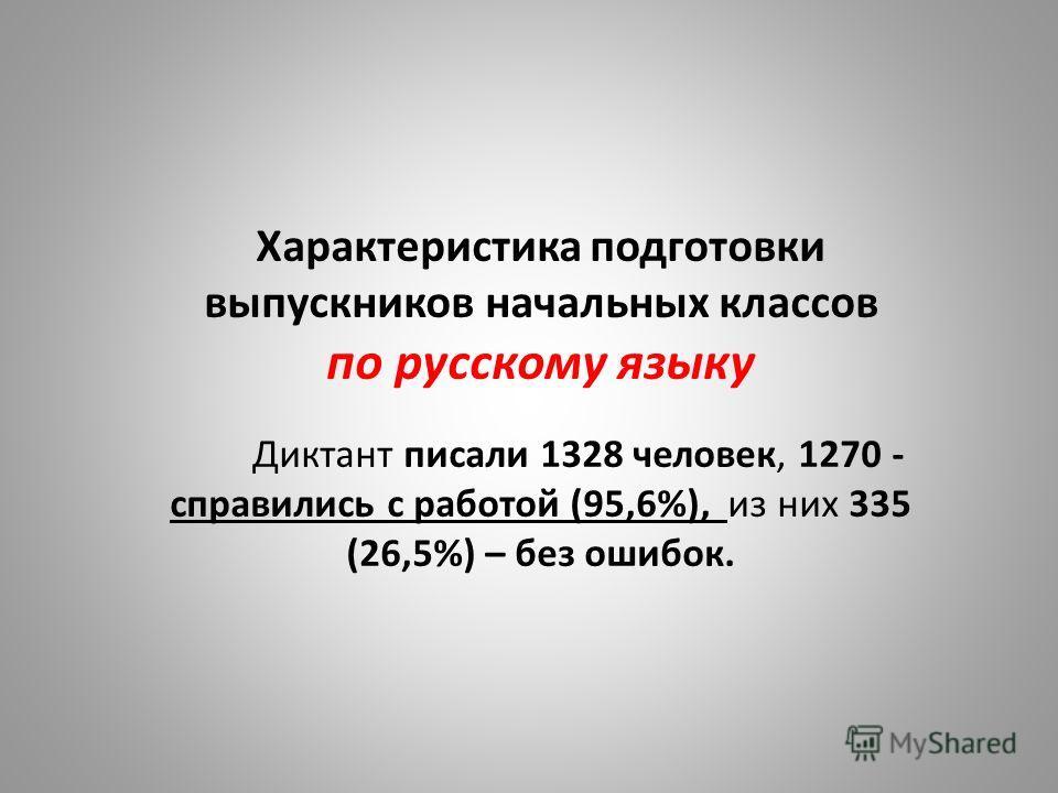 Характеристика подготовки выпускников начальных классов по русскому языку Диктант писали 1328 человек, 1270 - справились с работой (95,6%), из них 335 (26,5%) – без ошибок.