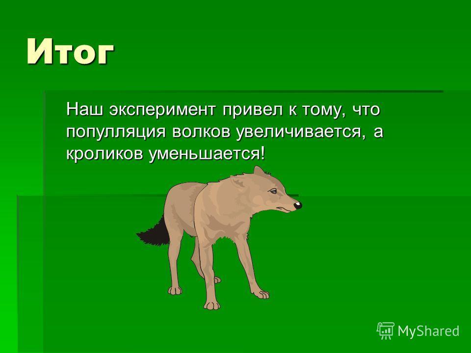 Итог Наш эксперимент привел к тому, что популляция волков увеличивается, а кроликов уменьшается!