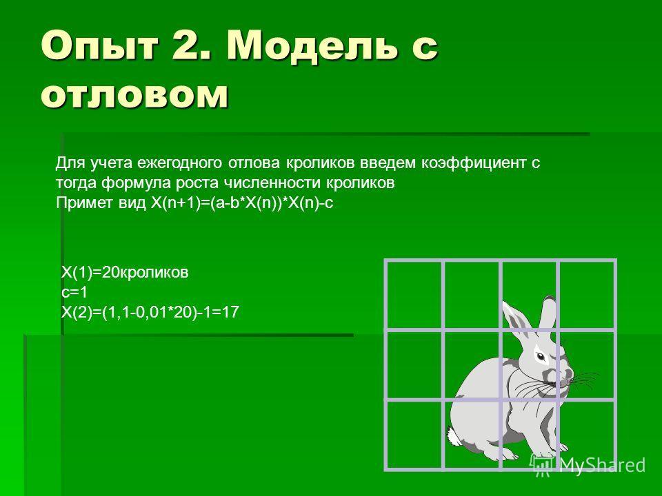 Опыт 2. Модель с отловом Для учета ежегодного отлова кроликов введем коэффициент с тогда формула роста численности кроликов Примет вид Х(n+1)=(a-b*X(n))*X(n)-с Х(1)=20кроликов с=1 Х(2)=(1,1-0,01*20)-1=17