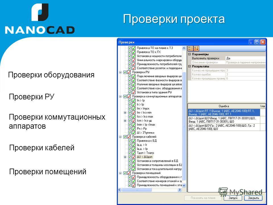 Проверки оборудования Проверки РУ Проверки коммутационных аппаратов Проверки проекта Проверки кабелей Проверки помещений