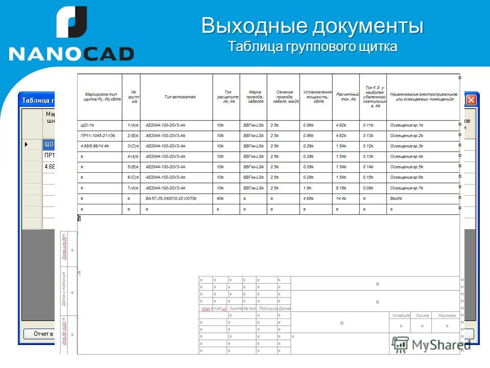 Выходные документы Таблица группового щитка