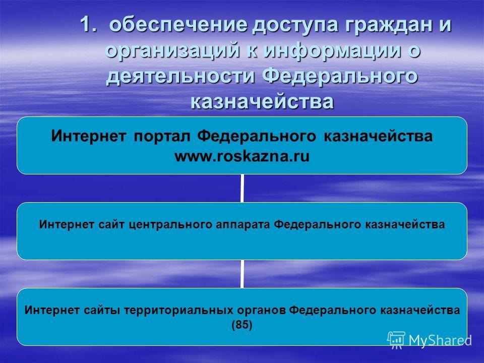 1. обеспечение доступа граждан и организаций к информации о деятельности Федерального казначейства 1. обеспечение доступа граждан и организаций к информации о деятельности Федерального казначейства Интернет портал Федерального казначейства www.roskaz