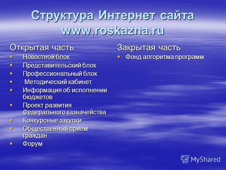 Структура Интернет сайта www.roskazna.ru Открытая часть Новостной блок Новостной блок Представительский блок Представительский блок Профессиональный блок Профессиональный блок Методический кабинет Методический кабинет Информация об исполнении бюджето