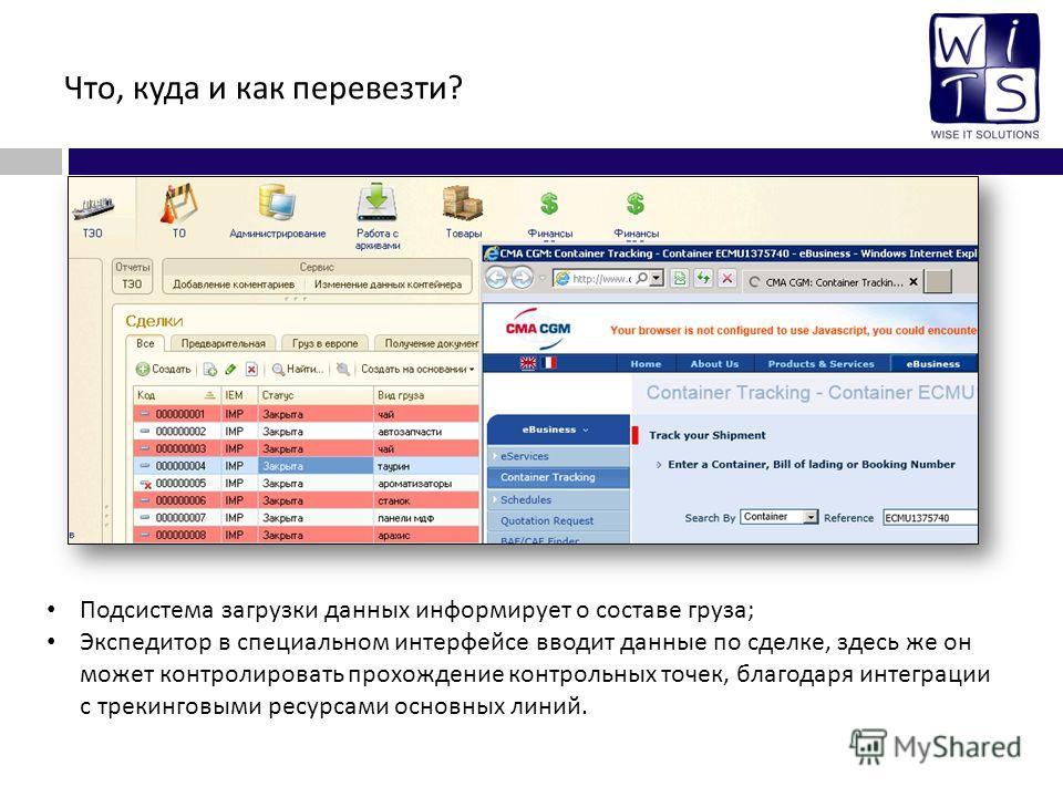 Что, куда и как перевезти? Подсистема загрузки данных информирует о составе груза; Экспедитор в специальном интерфейсе вводит данные по сделке, здесь же он может контролировать прохождение контрольных точек, благодаря интеграции с трекинговыми ресурс