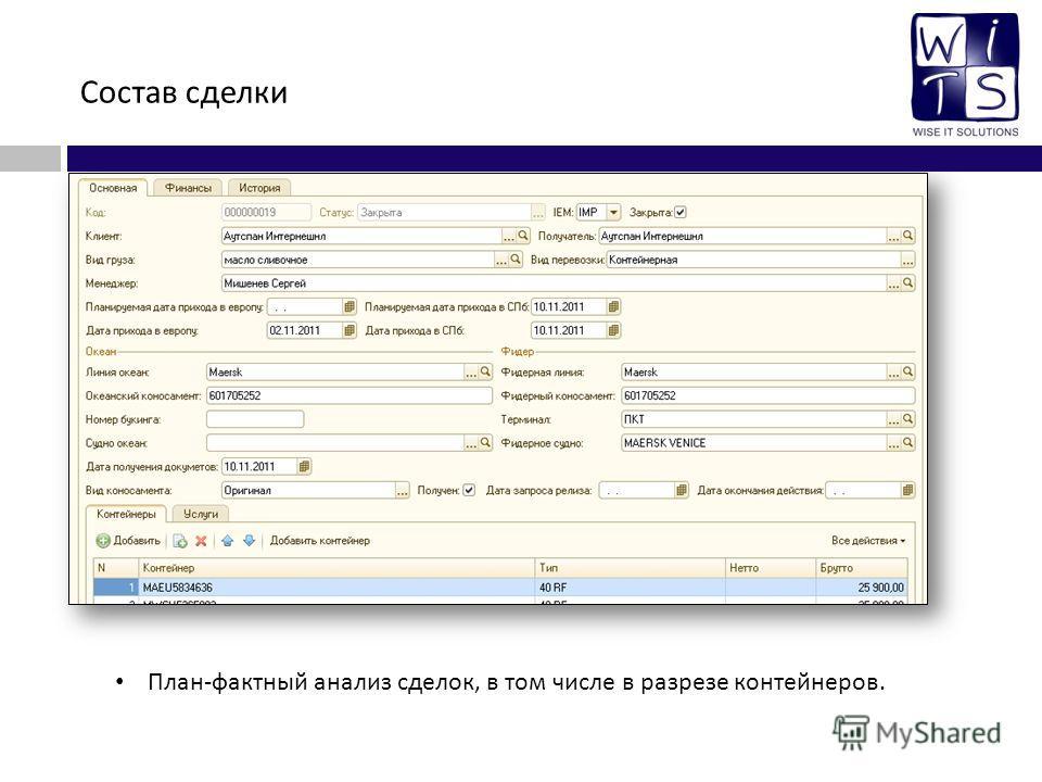 Состав сделки План - фактный анализ сделок, в том числе в разрезе контейнеров.