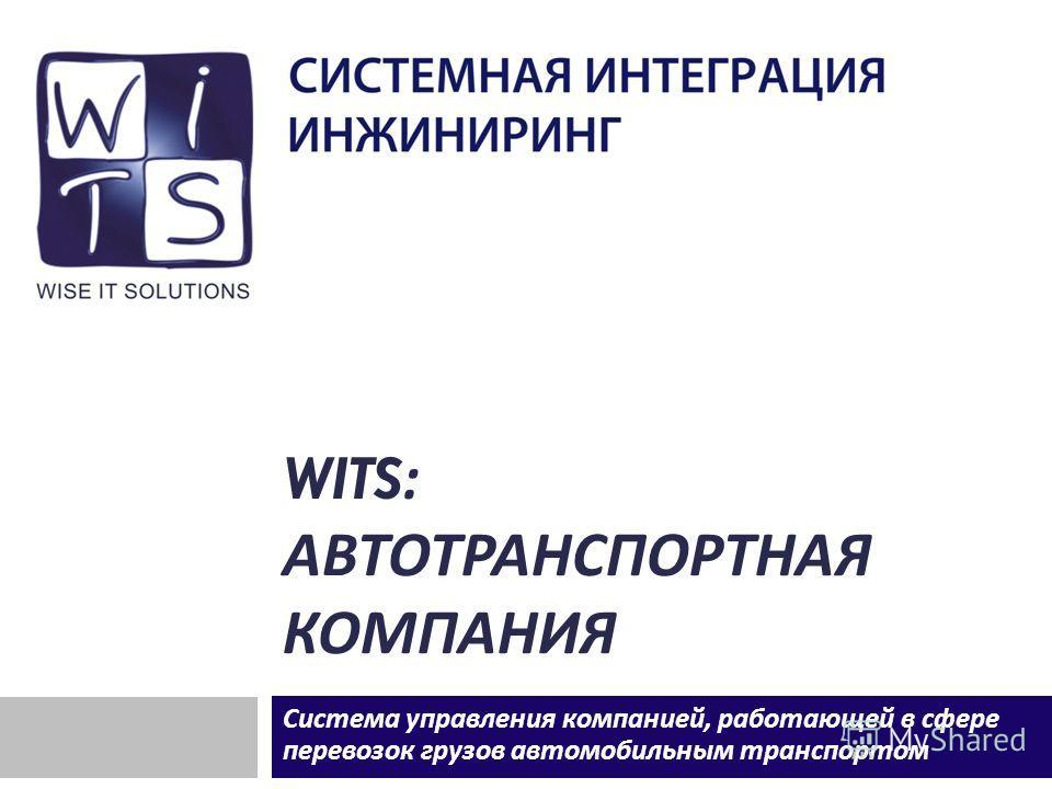WITS: АВТОТРАНСПОРТНАЯ КОМПАНИЯ Система управления компанией, работающей в сфере перевозок грузов автомобильным транспортом