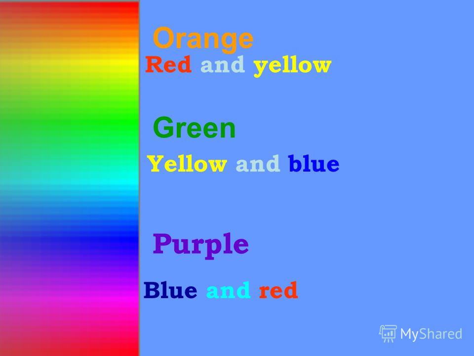 Orange Red and yellow Green Purple Blue and red СОСТАВНЫЕЦВЕТАСОСТАВНЫЕЦВЕТА Yellow and blue